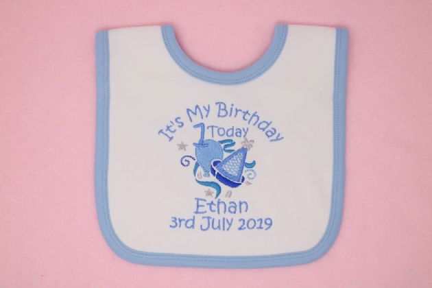 Personalised first 1st Birthday Bib choice of colour bib & design can add date